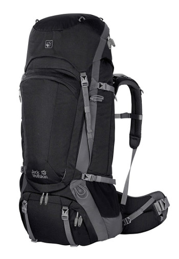 Image Of A Black And Grey Jack Wolfskin Backpack